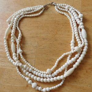Vintage Carved Bovine Bone Bead Necklace 4 Strand